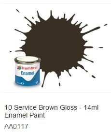 Humbrol barva email 10 - Service Brown Gloss 14ml