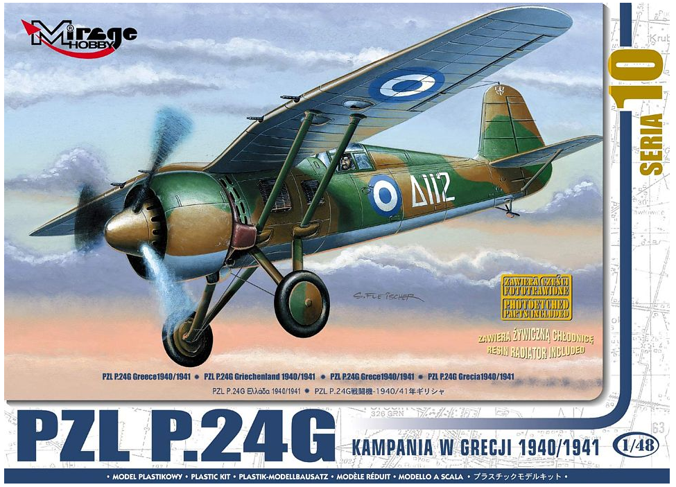 Mirage Hobby PZL P.24G GREECE 1940/41 (w/ resin&PE parts) 1:48