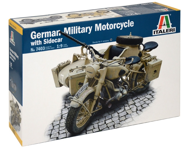 Italeri German Military Motorcycle with Sidecar 1:9 7403