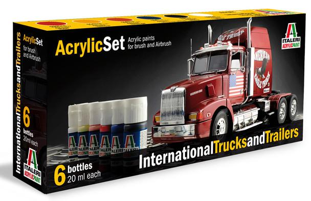 Italeri Sada akrylových barev 435AP - INTERNATIONAL TRUCKS & TRAILERS 6 ks