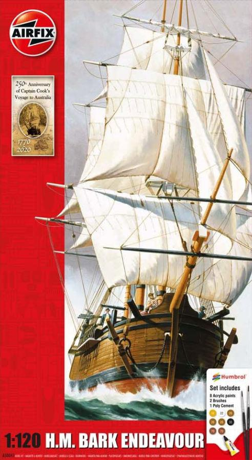 Airfix Endeavour Bark and Captain Cook 250th Anniversary Gift Set 1:120 A50047